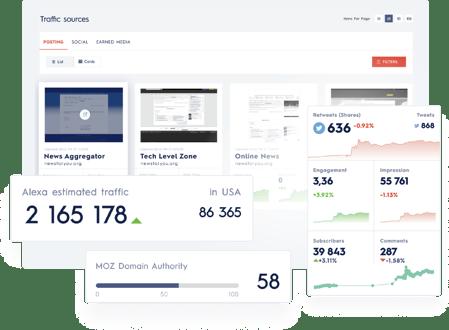 screenshot of traffic sources in news direct platform