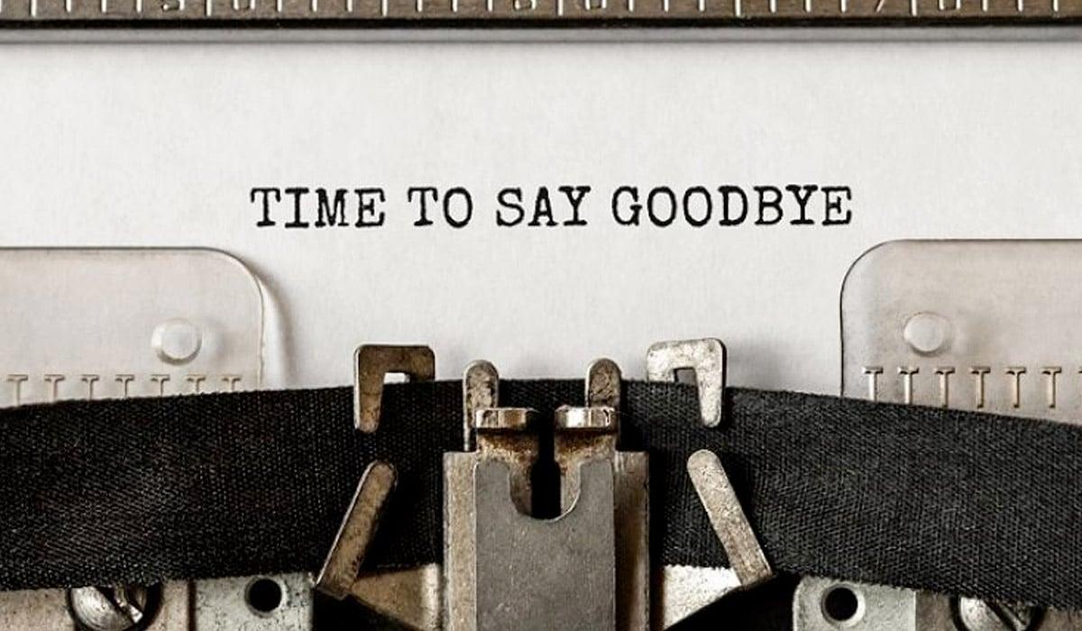 time to say goodbye text on typewriter