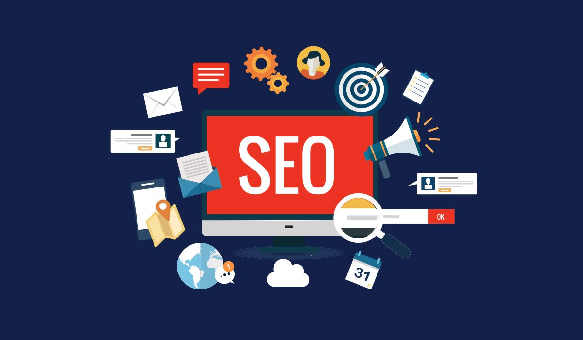 various iconography representing seo